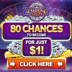 Zodiac Casino, 80 spins for only 1 Canadian dollar.