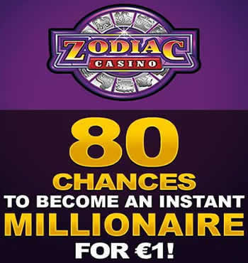 80 chances for only C$1 - Zodiac Casino is quite a nice casino website in Canada