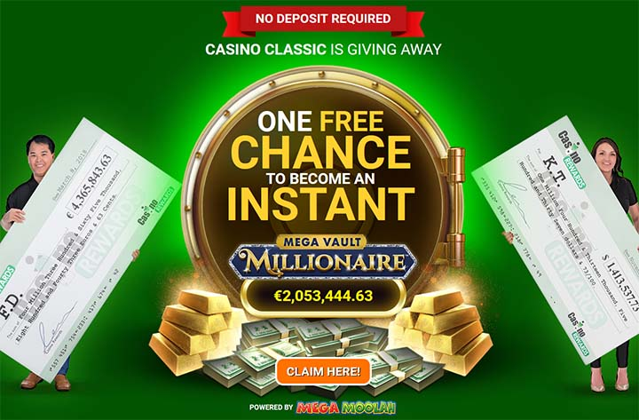 Casino Classic is a site for Canadians to play Mega Vault Millionaire