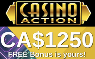 Get up to C$1250 in welcome casino bonuses at Casino Action in Canada