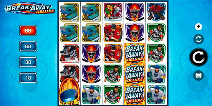 The Break Away Deluxe slot machine - Ice hockey from your PC or mobile